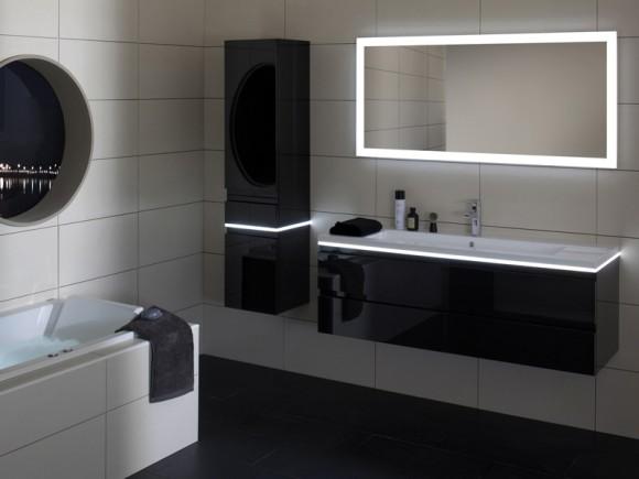 Meuble vasque de 140 et son miroir auréolé dans la gamme HALO