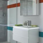 Meuble vasque de 80 avec une armoire de toilette dans la gamme HALO