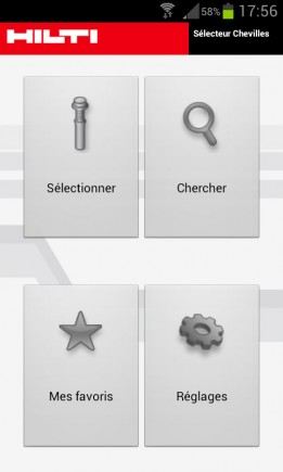 Le menu de l'application Hilti reste simple et clair